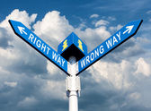 Wrong Way and Right Way — Stock Photo