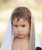 Three year old boy with a serious expression — Foto Stock