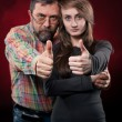 Father and daughter. Focus on hands - Stockfoto