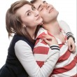 Portrait of a girl with a young man - Stockfoto
