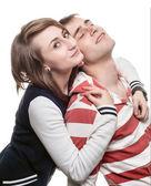Portrait d'une jeune fille avec un jeune homme — Photo