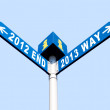 2012 end and 2013 way signs - Stockfoto