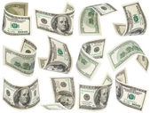 Conjunto de volar los billetes de 100 dólares — Foto de Stock