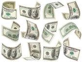 Uppsättning av flygande 100 dollar sedlar — Stockfoto