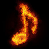 Fiery musical note symbol — Stock Photo