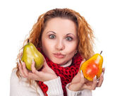 Red-haired girl with a pears — Стоковое фото