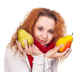 Red-haired girl with a pears — Foto Stock
