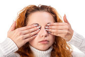 Woman covering her eyes by the hands, — Stock Photo