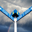 Hell and heaven road signs — Stock Photo