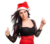 Pretty woman in red santa claus hat — Stock Photo