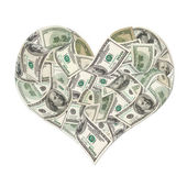 Heart sign made by 100 dollar banknotes — Photo