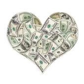 Znak serca przez 100 dolarów banknotów — Zdjęcie stockowe