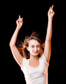 踊る美しい若い女性の肖像画 — ストック写真