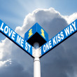 Love me street and one kiss way - Stock Photo
