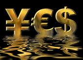円、ドル、ユーロの金の記号によって書かれた単語をはい — ストック写真