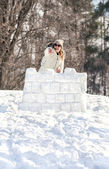 Defense of a snow fort — Stock Photo