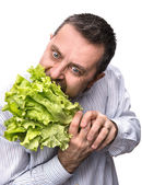 Man holding lettuce isolated on white — Stock Photo