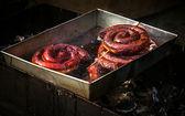 Lingüiça de porco fritada em óleo — Foto Stock
