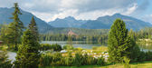 Panorama of mountain lake in National Park High Tatra — Stock Photo