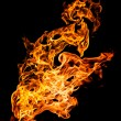 Fire flames on black — Foto de Stock