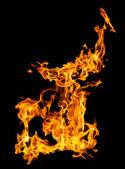 Llamas de fuego sobre negro — Foto de Stock
