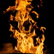 Stock Photo: Fire flames on black