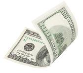 100 dolarlık banknot kırpma yolu ile — Stok fotoğraf