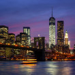 图库照片: Manhattat night with lights and reflections