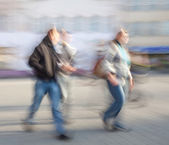 Abstract street scene with intentional motion blur. — Stock Photo