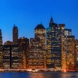 Stock Photo: Night New York City skyline panorama