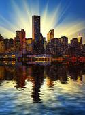 Manhattan skyline at sunset — Stock Photo