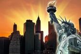 Sunset in New York City — Zdjęcie stockowe
