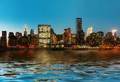 Manhattan. Late evening New York City skyline panorama — Stock Photo