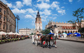 Horse cab on Main Square of Krakow — Stok fotoğraf