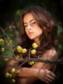 Young woman with wild apples — Stock Photo