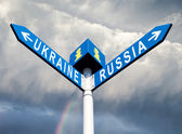 Russia-Ukraine road sign — Stockfoto