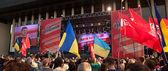 Presidential candidate Petro Poroshenko speaks at election meeti — Stock Photo