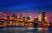 Manhattan with lights and reflections — Stock Photo