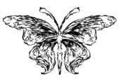 Smoke flowers butterfly silhouette — Stock Photo