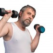 ������, ������: Man exercising with dumbbells