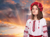 Sad girl in the Ukrainian national suit  — Стоковое фото