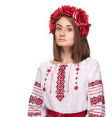 Sad girl in the Ukrainian national suit  — Stock Photo