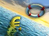 Sinking euro — Stock Photo