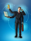 Multi-tasking businessman — Stock Photo
