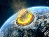 小行星撞击 — 图库照片