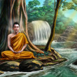 Buddha meditating - Stock Photo