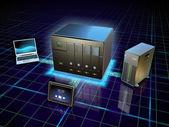 Almacenamiento de información conectado en red — Foto de Stock