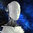 Computer background with robot android — Stock Photo #25132035