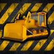 Grunge construction background with bulldozer — Stock Photo