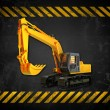 Grunge construction background with bulldozer - Stock Photo